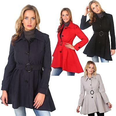 Womens Ladies Classic Short Flared Mac Rain Trench Coat Military Belted Jacket | eBay