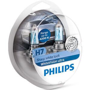 Kit-2-Lampade-Philips-H7-white-Vision-Ultra-2-W5W-Lampadine-Fari-Effetto-4200k