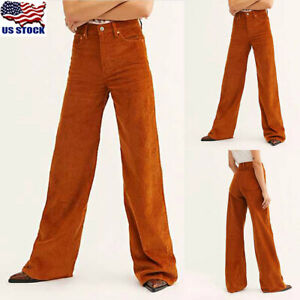 Women-Corduroy-Wide-Leg-Trousers-High-Waist-Straight-Trousers-Loose-Casual-Pants