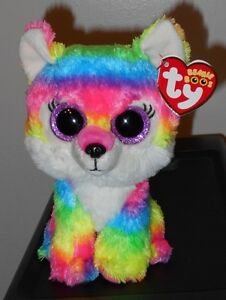 "Ty Beanie Boos ~ RIVER the Multi Color Wolf 6"" (Great Wolf Lodge Exclusive) NEW"