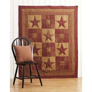 NINEPATCH-STAR-Quilted-Throw-Country-Burgundy-Patchwork-Primitive-Rustic-Plaid