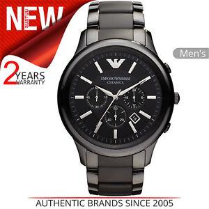 8779eda5d53a La imagen se está cargando Emporio-Armani-Ceramica-Reloj -Hombre-Ar1451-Negro-Cronografo-