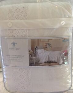 Awe Inspiring Details About Simply Shabby Chic Crochet Trim Linen Blend White 2 Piece Twin Comforter Set Download Free Architecture Designs Grimeyleaguecom