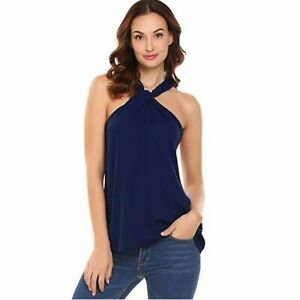 Trendy-Navy-Blue-Sleeveless-Halter-Top-Summer-Dress-Blouse-Camisole