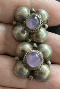 VINTAGE-MEXICAN-STERLING-SILVER-AMETHYST-SCREW-EARRINGS-MEXICO