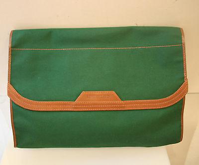 Rene Lezard Tasche, edle Luxus Aktentasche, Stoff grün + Leder braun, Original
