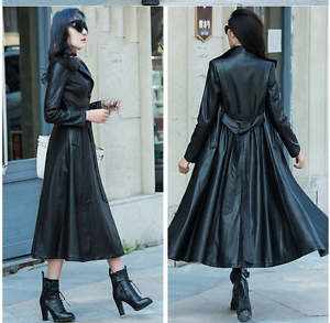 Womens Single Breasted Full Length Long Leather Trench Coat Jacket Belt Slim Fit