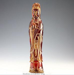 The Chinese manual sculpture natural amber statue of avalokitesvara