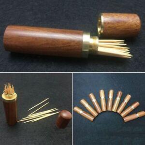 Portable Vintage Wooden Toothpick Holder Pocket Toothpick Dispenser Bucket