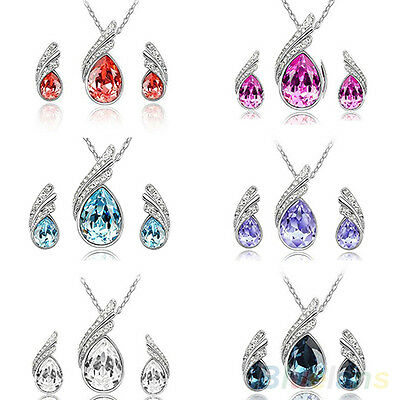 Stunning Trendy Wedding Crystal Water Drop Leaves Earrings Necklace Jewelry Sets