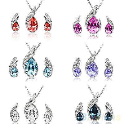 Beautiful Wedding Crystal Water Drop Leaves Jewelry Earrings Necklace Sets BGAU