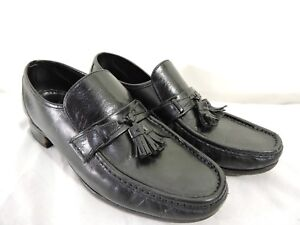 Florsheim-Mens-Black-Leather-Loafers-with-Tassels-Slip-on-Shoes-Size-9-1-2-D