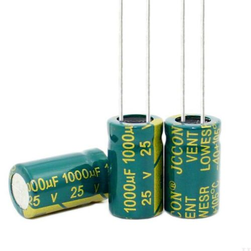 25V 1000uF High Frequency LOW ESR Radial Electrolytic Capacitors 105°C 10x17mm