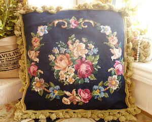 18-034-Beautiful-Needlepoint-Pillow-Cushion-Rose-amp-Floral-Garland