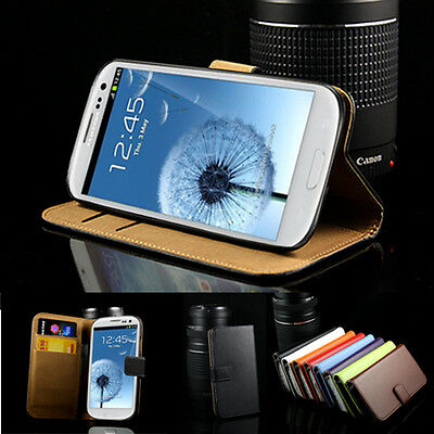 Cover Genuine Leather Wallet Stand Case For Samsung Galaxy S3 i9300
