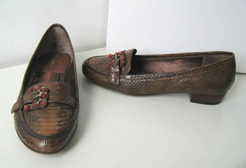 Halb Schuh Schuhe PUR GLAMOUR braun cognac Schlange 41 shoes brown