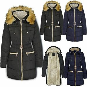 094ab89749e Image is loading New-Womens-Ladies-Fur-Trimmed-Hooded-Padded-Puffer-