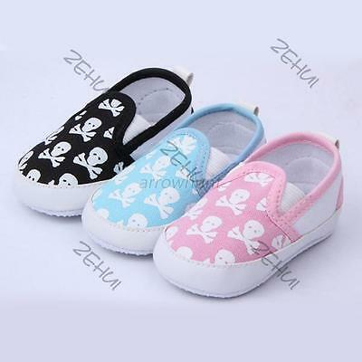 0-12M Baby Shoes Kids Boy Girl Toddler Skull Soft Sole Anti-Slip Sneakers Shoes