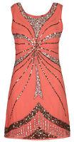 1920's Vtg Flapper Downton Gatsby Charleston Embellished Sequin Dress New 8 - 16
