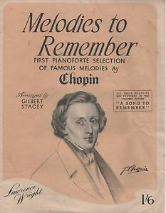 Vintage Sheet Music Melodies to Remember Chopin Pianoforte Selection - Somerset, United Kingdom - Vintage Sheet Music Melodies to Remember Chopin Pianoforte Selection - Somerset, United Kingdom