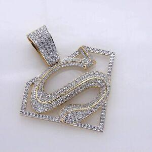 14K-Yellow-Gold-Finish-Round-Cut-1-50-Ct-Diamond-Super-Man-Logo-Pendant-Charm