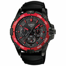 Casio Red Black Analog Watch MTD1069B-1A2 ~ NEW 100 Meter WR 3 Dials Resin Band