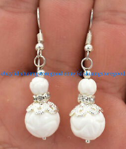 Fashion 6-12mm White Carving Coral Round Beads Dangle Earrings AAA+