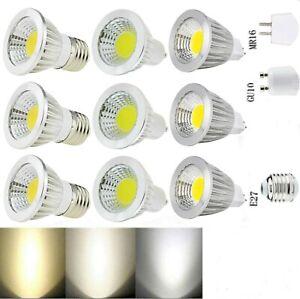 Ultra Bright MR16 GU10 E27 220V 110V 85-265VDimmable 6W LED COB Spot Light Bulbs