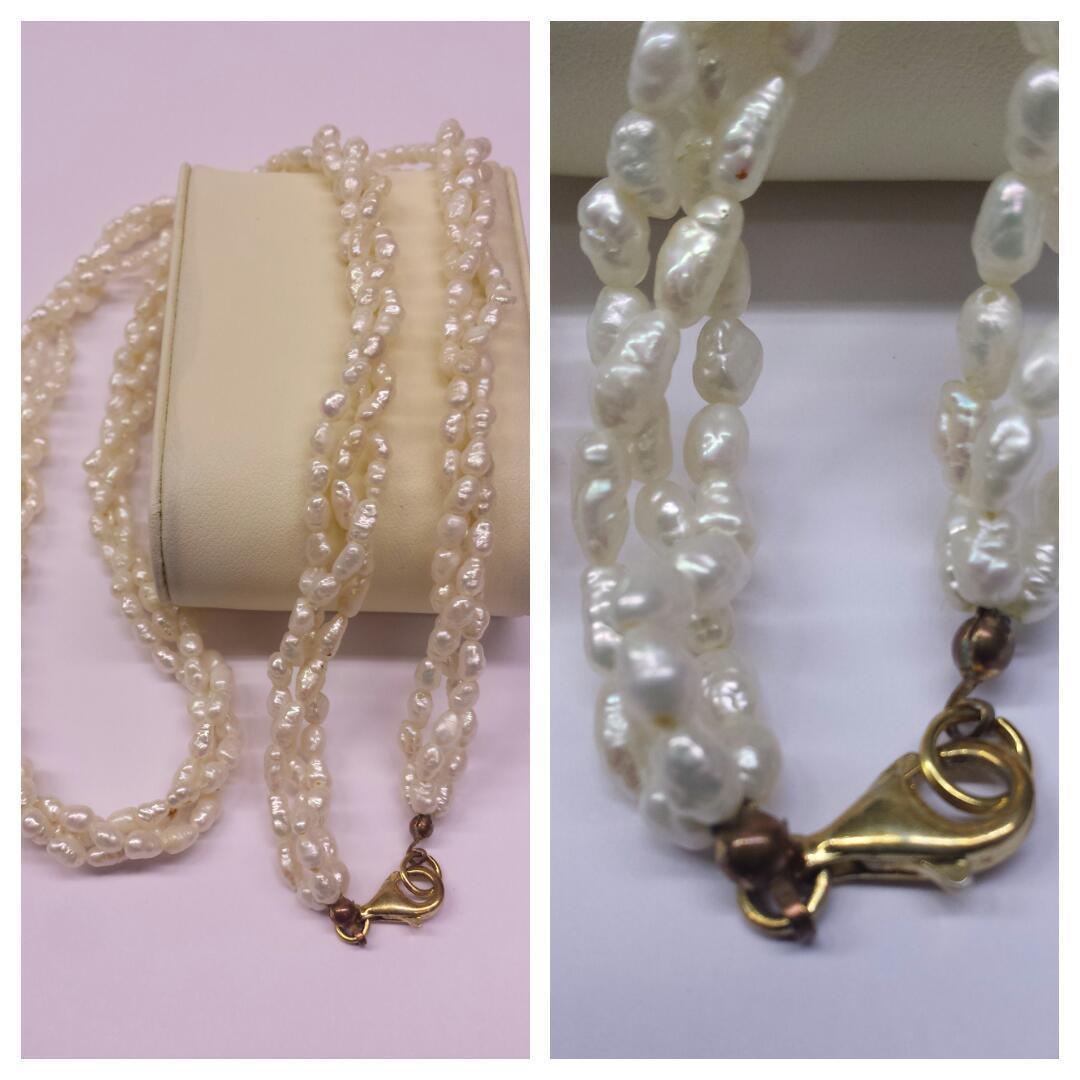 Agua Dulce Collar perlas TRES FILAS 925 silververschluß Collar de Perlas Perlas