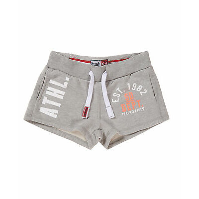 New Womens Superdry Factory Second Trackster Shorts Grey Marl