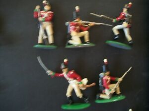 FIVE-NICELY-PAINTED-54MM-NAPOLEONIC-BRITISH-LINE-INFANTRY-Lot-2