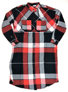 4415df0113f Image is loading Noisy-May-OVERSIZED-Plaid-Button-Front-Shirt-Dress-