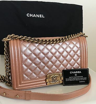 CHANEL Medium Caviar Le Boy Flap Shoulder Bag Iridescent Pearl Pink Rose  Gold 545b04774eea2