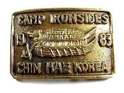 1983 Camp Ironsides Mento Hae Corea Artigianale Ottone Fibbia Della Cintura