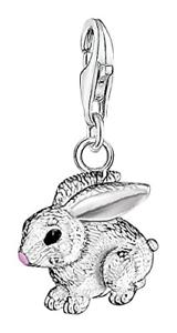 Thomas Sabo mujeres-Encanto Colgante Encanto de conejo Club de plata esterlina 925 Negro Rosa