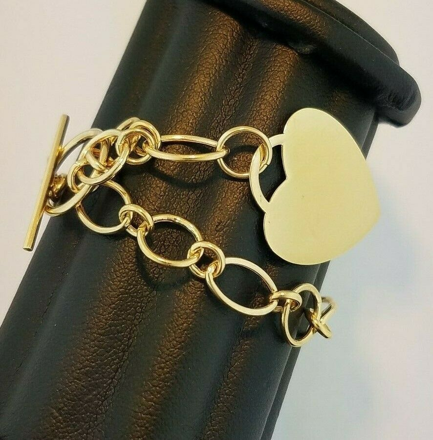 Engravable Heart Charm Rolo Round Oval Link Chain Bracelet 7  14k Yellow gold