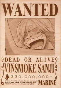 One Piece - Vinsmoke Sanji Wooden Wanted Poster