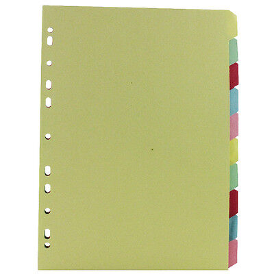 10 Part Subject Filing File Dividers A4 Multi Punched Coloured Inserts Cardboard