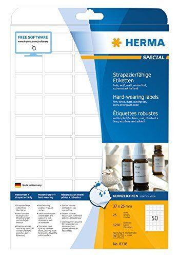 HERMA Labels hard-wearing A4 37x25 mm bianca strong adhesion film matt (E6C)