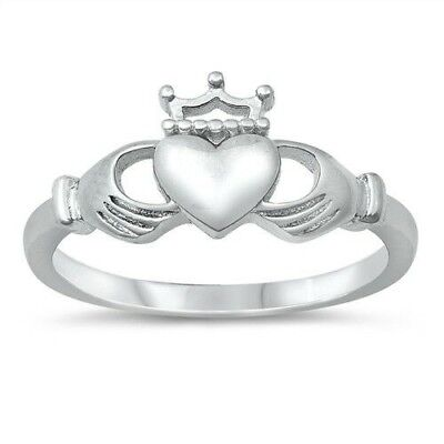 Heart Crown Ring Genuine Sterling Silver 925 High Polish Selectable Height 7 mm