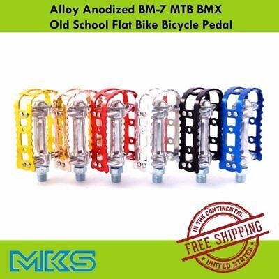 "Silver MKS BM-7 Alloy Anodized MTB BMX Old School Flat Bike 9//16/"" Pedal"