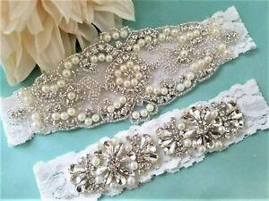 Wedding-garter-Bridal-Garter-Set-Crystal-Pearl-OFF-WHITE-Lace-Garter-Set