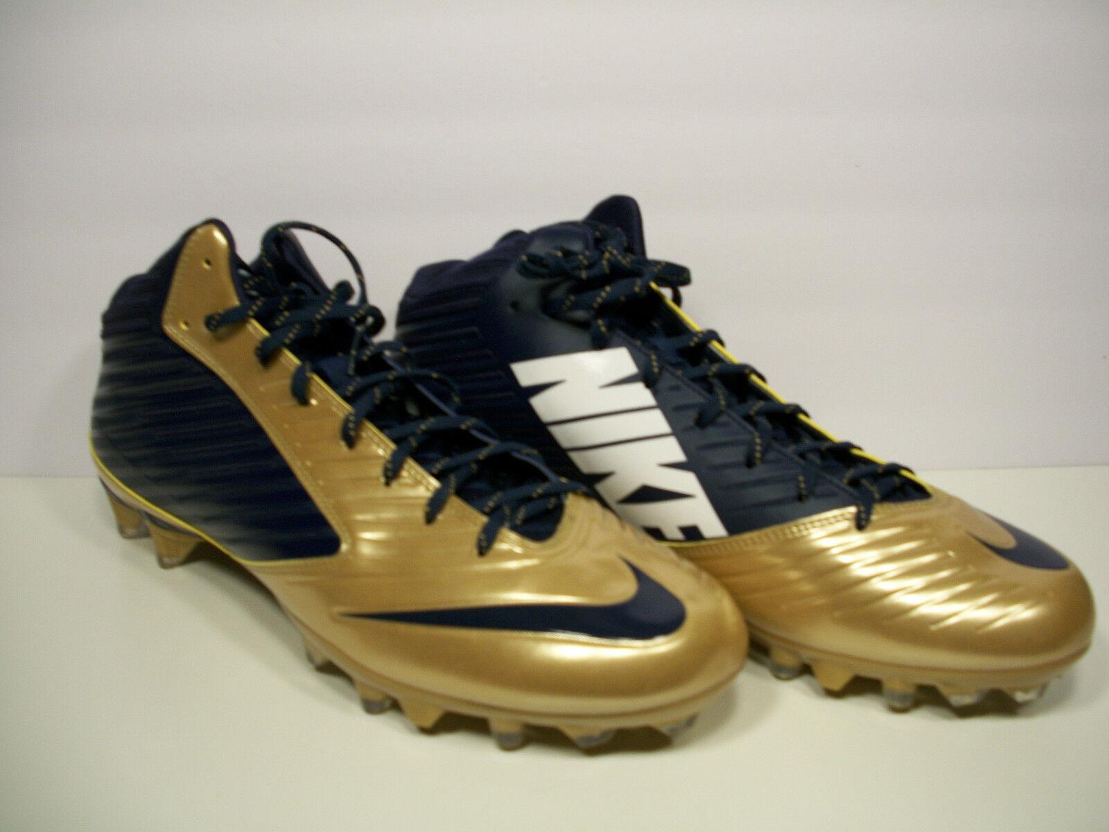 NIKE Vapor Speed 3 4 TD Football Cleats 668839-426 Navy bluee gold Size 16