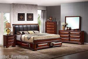 4 Piece Bedroom Set Oak Platform King Padded Storage Bed
