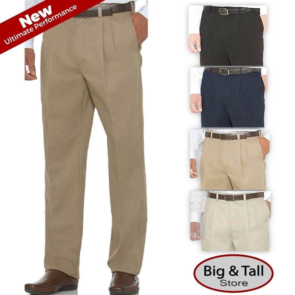 Big & Tall Expandable Waist Pleated Casual Pants - Savane Ultimate Waist 36 - 60