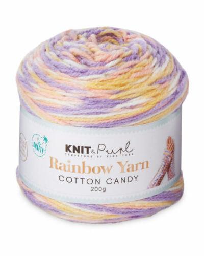 20/% Wool So Crafty Cotton Candy Rainbow Yarn 200g -1 Ball Knitting Crochet
