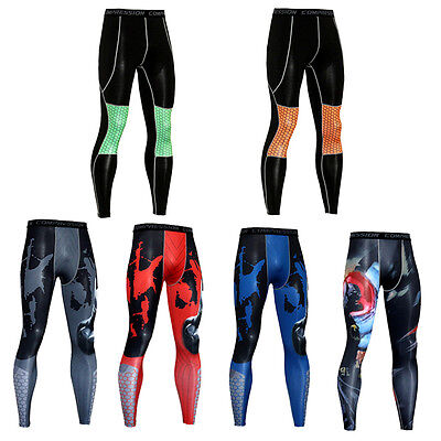 Men's Compression Legging Athletic Baselayer Gym Running Long Pants Printed Slim