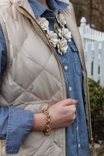 NWT J.Crew Quilted Puffer Novelty Vest Beige Bleached Sand 2XS XS S M L XL XXL