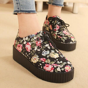 Women-Ladies-Floral-Wedge-Lace-Up-Punk-Goth-Platform-Flat-Creeper-Shoes-Boots