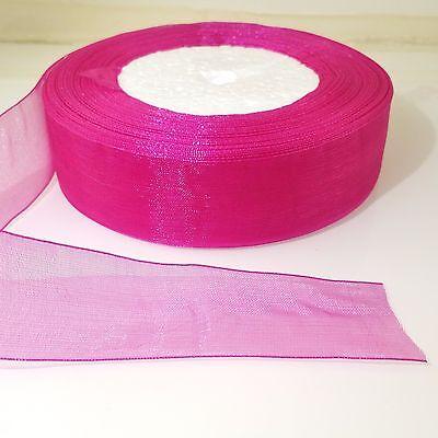 "25mm 1/"" Camellia Pink Woven Edge Sheer Organza Ribbon 3M 5M 10M Craft Sewing"